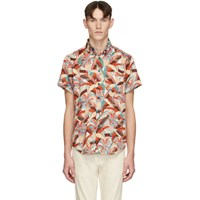 Naked And Famous Denim Orange Blue Jungle Vacation Aloha Shirt