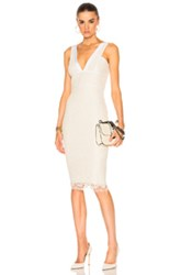 Victoria Beckham Floral Lace V Neck Fitted Dress In White