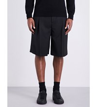 Givenchy Satin Striped Mid Rise Wool Blend Shorts Black