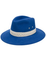Maison Michel Contrast Trim Hat Women Rabbit Fur Felt L Blue