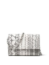 Michael Kors Snakeskin And Chain Crossbody Natural