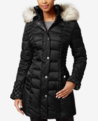Betsey Johnson Faux Fur Trim Quilted Puffer Coat Black