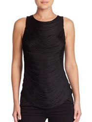 Ralph Lauren Sleeveless Draped Fringe Top Black