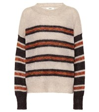 Etoile Isabel Marant Russell Striped Mohair Blend Sweater Beige