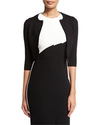 Narciso Rodriguez Cropped Zip Front Wool Blend Cardigan Black Size 48