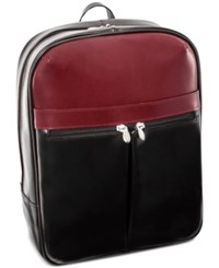 Mcklein Avalon 16 Leather Laptop Backpack Black Red
