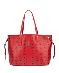 Liz Reversible Medium Shopper Tote Bag Ruby Red Mcm
