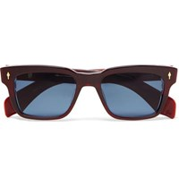 Jacques Marie Mage Molino Square Frame Acetate And 18 Karat Gold Sunglasses Red