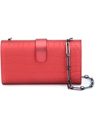 Edie Parker Crocodile Effect Box Clutch Red