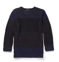 Issey Miyake Striped Knitted Sweater Blue