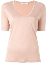 T By Alexander Wang Scoop Neck T Shirt Pink And Purple