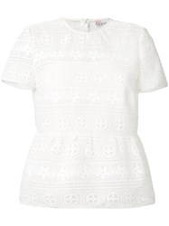 Red Valentino Floral Lace T Shirt Women Polyester Viscose 38 White