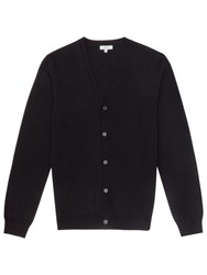 Reiss Walter Merino Wool Cardigan Navy