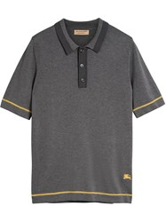 Burberry Tipped Cotton Jersey Polo Shirt Grey