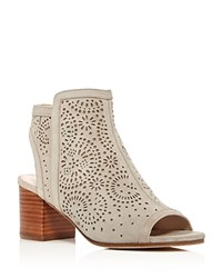 Via Spiga Jorie Perforated Open Toe Booties Gray