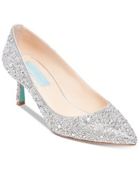 Blue By Betsey Johnson Jora Evening Pumps Silver Satin