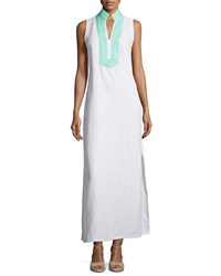 Sail To Sable Classic Linen Sleeveless Maxi Dress White Cabbage
