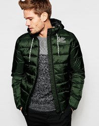 Blend Of America Blend Quilted Hooded Nylon Jacket In Green Green