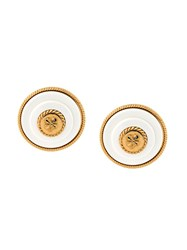 Chanel Vintage Logo Disc Clip On Earrings White