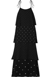 Anine Bing Daisy Tiered Polka Dot Chiffon Maxi Dress Black