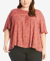 Eyeshadow Trendy Plus Size High Low T Shirt Pink Print