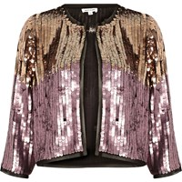 River Island Womens Pink And Gold Sequin Bolero