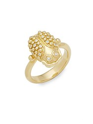 Temple St. Clair Diamond And 18K Yellow Gold Scarab Ring