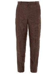 Y Project Creased Organza Layered Crepe Trousers Dark Brown