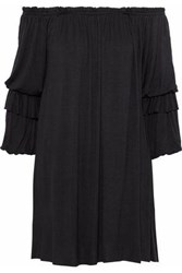 Bailey 44 Bai Off The Shoulder Ruffle Trimmed Jersey Mini Dress Black