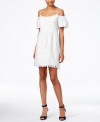 Kensie Off The Shoulder Eyelet Lace Fit And Flare Dress White