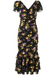 Dolce And Gabbana Floral Print Peplum Dress Black