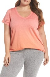 Make Model Plus Size Women's 'Gotta Have It' V Neck Tee Coral Sugar Orange Par Ombre