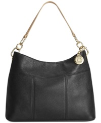 Tommy Hilfiger Th Signature Leather Small Hobo Black Tan
