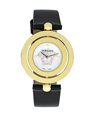 Versace Textured Leather Strap Watch Yellow Gold