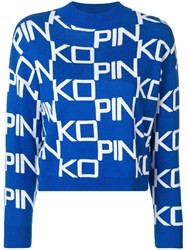 Pinko Logo Funnel Neck Sweater Blue