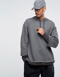 Asos Oversized Hoodie With Double Sleeve In Charcoal Marl Charcoal Marl Grey