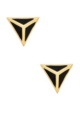 Ariella Collection Bling Pyramid Stud Earrings Black