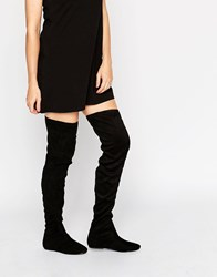 London Rebel Over The Knee Stretch Boots Black