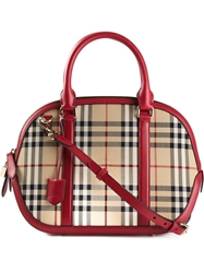 Burberry Haymarket Check Tote Red