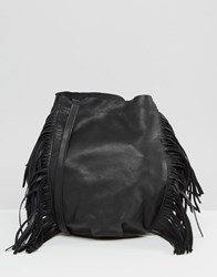 Mango Leather Fringed Bucket Bag Black