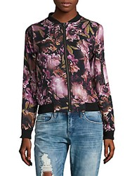Candc California Baseball Collar Floral Print Jacket Blue