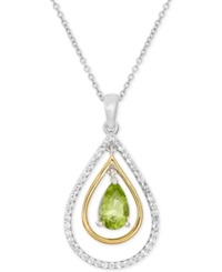 Macy's Peridot 9 10 Ct. T.W. And White Topaz 2 5 Ct. T.W. Pendant Necklace In 14K Gold And Sterling Silver Green