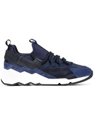 Pierre Hardy Panel Sneakers Men Cotton Calf Leather Polyester Foam Rubber 43 Blue