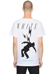 Off White Bolts Printed Cotton Jersey T Shirt