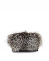 Adrienne Landau Everything Fox Fur Belt Bag Silver