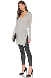 Ayni Sanka Side Slit V Neck Sweater Gray