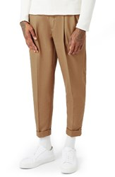 Topman Men's Pleated Tapered Fit Trousers Camel