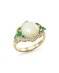 Bloomingdale's Opal Tsavorite And Diamond Ring In 14K Yellow Gold Multi Gold