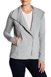 H By Bordeaux Fleece Long Sleeve Drawstring Jacket Gray