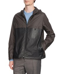 Berluti Nylon And Leather Zip Front Bomber Jacket Gray